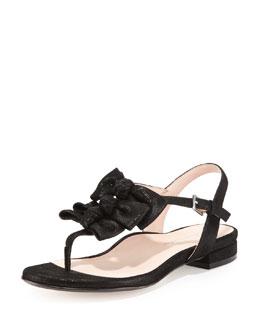 Taryn Rose Iliana Suede Bow Thong Sandal, Black