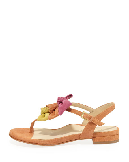 Iliana Suede Bow Thong Sandal, Tangerine