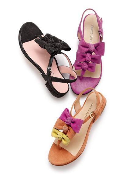 Iliana Suede Bow Thong Sandal, Tangerine