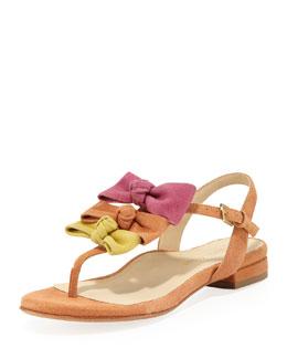 Taryn Rose Iliana Suede Bow Thong Sandal, Tangerine