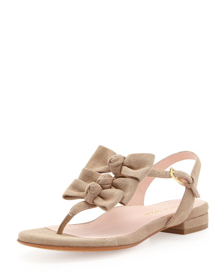 Iliana Suede Bow Thong Sandal, Camel