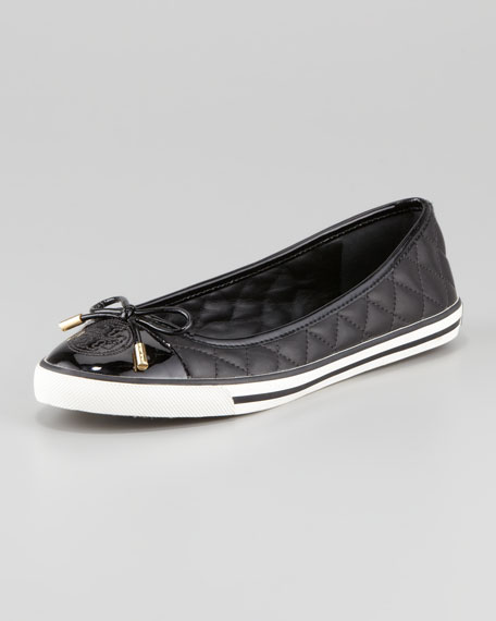 Skylar Quilted Leather Sneaker, Black