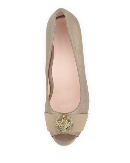 Kande Jeweled Peep-Toe Wedge, Cappuccino