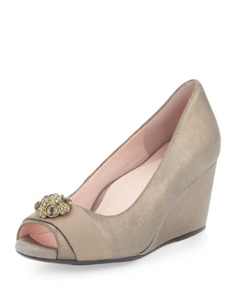 Taryn Rose Kande Jeweled Peep-Toe Wedge, Cappuccino