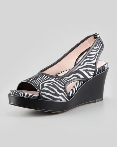 Taryn Rose Sabriel Zebra-Print Wedge, Black/White