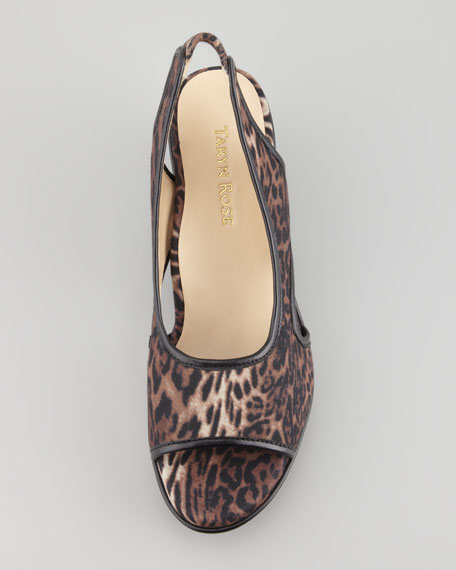 Sabriel Leopard-Print Wedge, Brown Multi