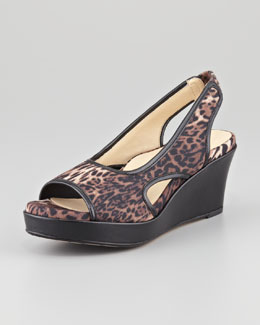 Taryn Rose Sabriel Leopard-Print Wedge, Brown Multi