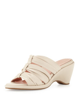 Taryn Rose Maison Ruched Wedge Slide, Bone
