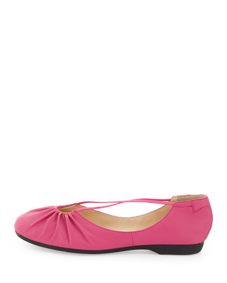 Bryan Ruched Crisscross Ballerina Flat, Pink Flash