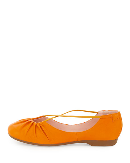 Bryan Ruched Crisscross Ballerina Flat, Tangerine