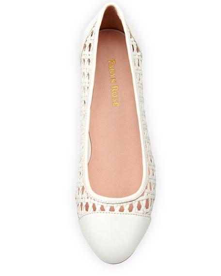 Beatriz Woven Cap-Toe Ballerina Flat, White