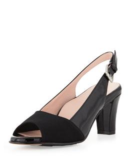Taryn Rose Fortula Peep-Toe Slingback, Black