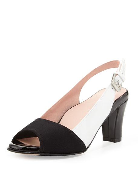 Fortula Peep-Toe Slingback, Black/White