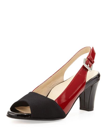 Fortula Peep-Toe Slingback, Black/Red