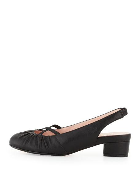 Jalana Ruched Low-Heel Slingback, Black