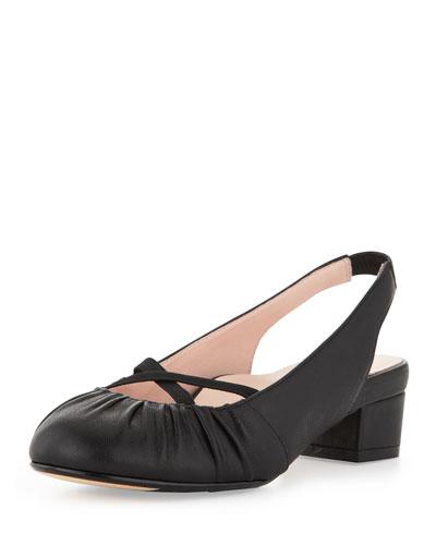 Taryn Rose Jalana Ruched Low-Heel Slingback, Black