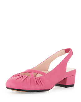 Taryn Rose Jalana Ruched Low-Heel Slingback, Pink Flash