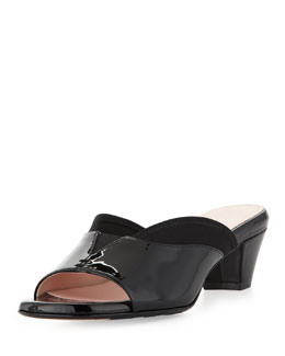 Taryn Rose Odi Stretch Patent Slide, Black