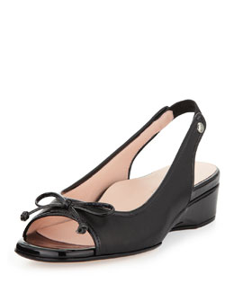 Taryn Rose Karol Open-Toe Bow Slingback, Black