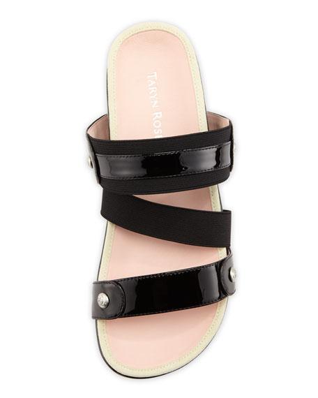 Amari Triple-Strap Patent Sandal, Black