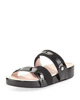Taryn Rose Amari Triple-Strap Patent Sandal, Black