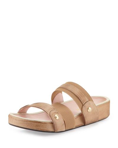 Taryn Rose Amari Triple-Strap Stretch Sandal, Nocciola
