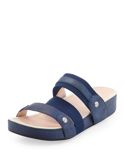Taryn Rose Amari Triple-Strap Stretch Sandal, Blue