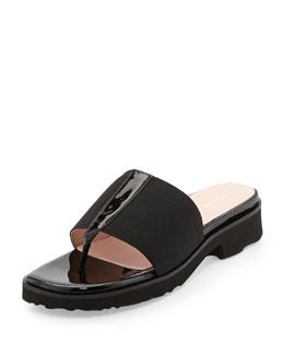 Taryn Rose Torte Patent Thong Slide, Black