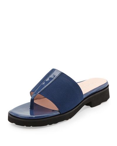 Taryn Rose Torte Patent Thong Slide, Blue