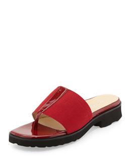 Taryn Rose Torte Patent Thong Slide, Red