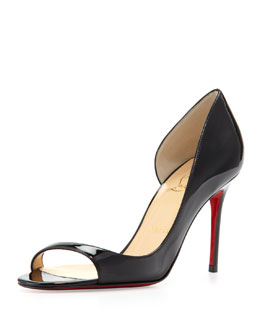 Christian Louboutin Toboggan Peep-Toe Patent Red Sole Pump, Black