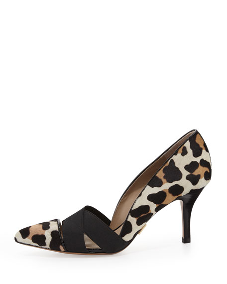 Stephanie Elastic Calf-Hair Pump