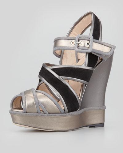 Oscar de la Renta Vacanza Metallic Wedge Sandal