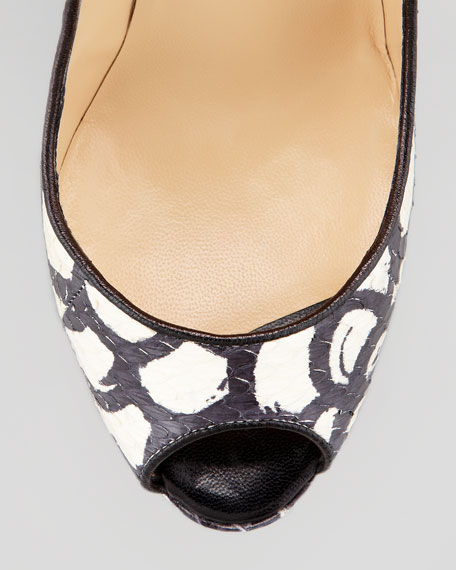 Alaly Snakeskin Wedge Sandal, Black/White