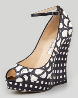 Oscar de la Renta Alaly Snakeskin Wedge Sandal, Black/White