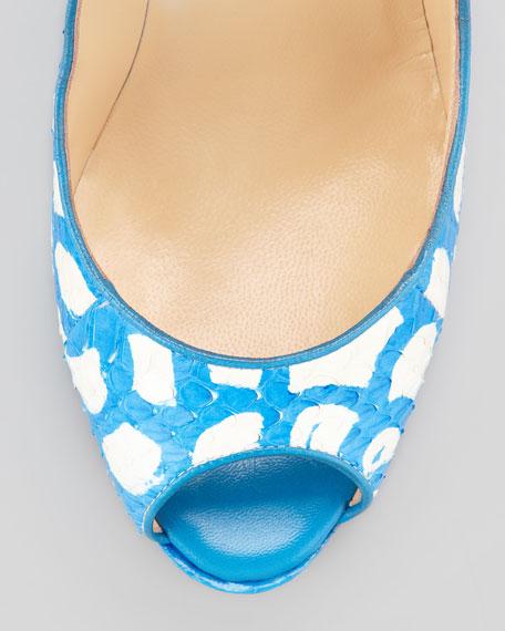 Alaly Snakeskin Wedge Sandal, Ocean/White