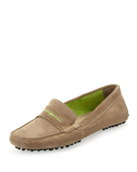 Terry-Trimmed Suede Driver, Taupe/Lime