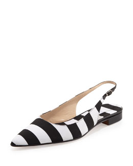 Manolo Blahnik Situra Striped Slingback Flat, Black/White
