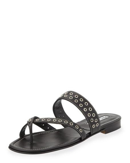 Susaocc Leather Grommet Flat Thong Sandal, Black