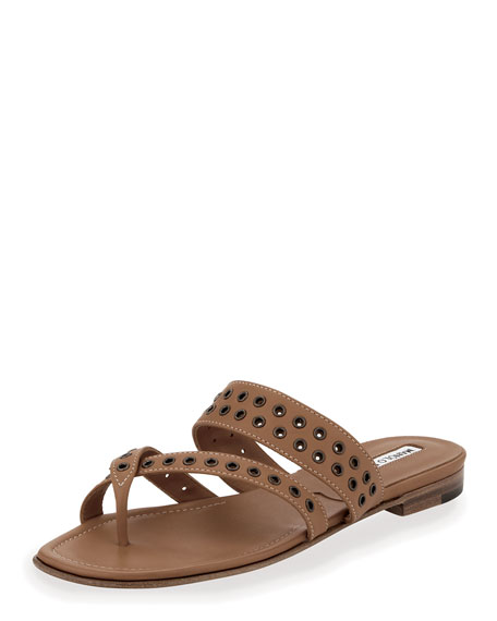 Susaocc Leather Grommet Flat Thong Sandal, Tan