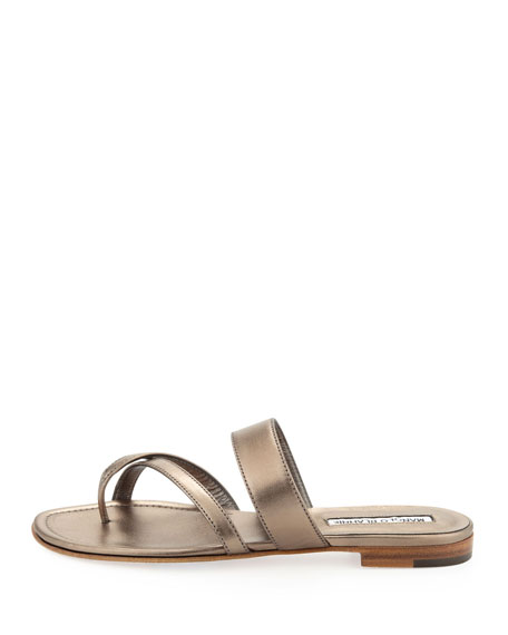 Susa Flat Leather Thong Sandal, Bronze
