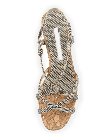 Scarsowe Woven Cork Wedge Sandal, Black/Cream