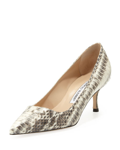 Manolo Blahnik BB Low-Heel Snake Pump, Natural
