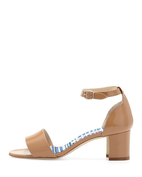 Lauratomod Block-Heel Ankle-Strap Sandal, Beige