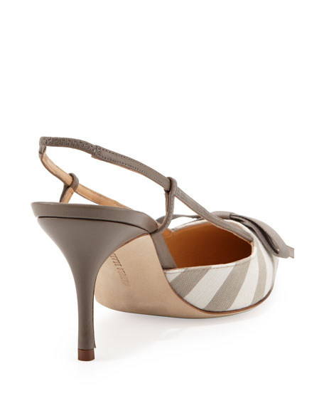 Galop Striped Canvas Halter Pump, Taupe/White