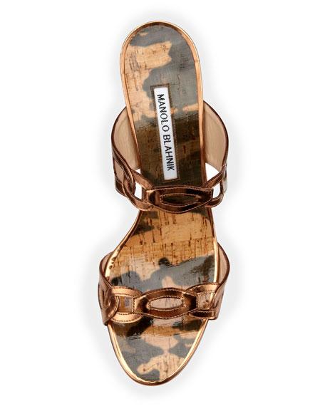 Chain Link Wedge Sandal, Bronze