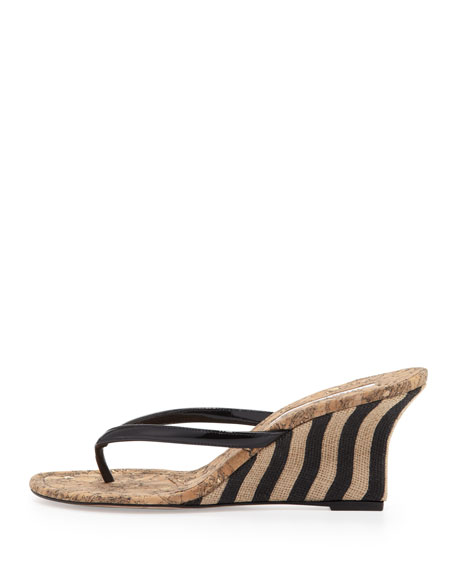 Patwedfac Striped-Wedge Thong Sandal, Black