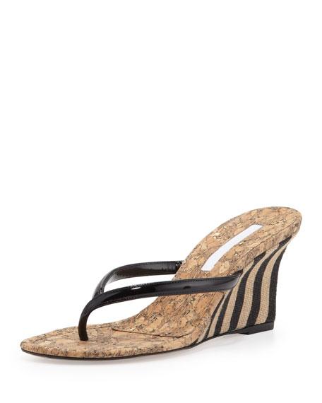 Patwedfac Striped-Wedge Thong Sandal, Black