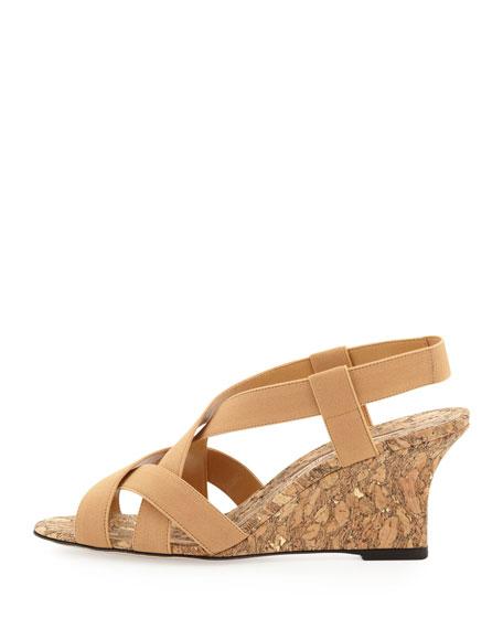 Lastiwe Strappy Elastic Cork-Wedge Sandal, Dark Khaki