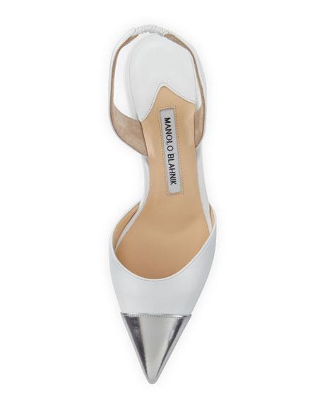 Carolcap Pointed Mid-Heel Halter Pump, White/Silver